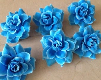 set of 6 blue 4 cm flowers collection