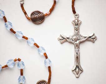 Blue Copper all-beaded Rosary