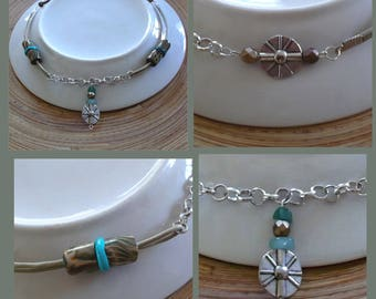 Short necklace in silver, Pearl Green Khaki, turquoise, bronze
