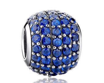A8 Authentic 925 Sterling Silver Charm Blue Crystals Fits European & Pandora Charm Bracelet