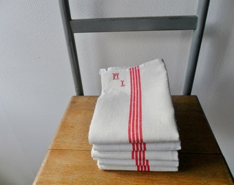 Set of 5 old towels edged ML