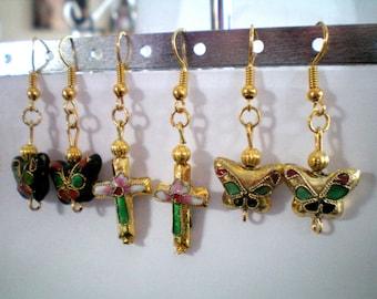 Dangling earrings - cloisonne beads gold - butterfly or cross