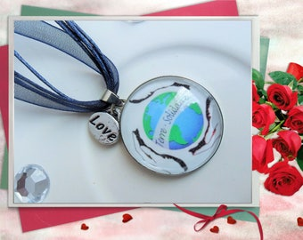 Necklace Cabochon round Metal scratched glass 25 mm - Earth solidarity charm Love