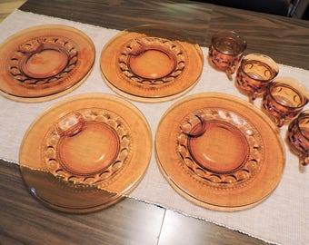 Vintage Indiana Kings Crown Thumbprint Amber Luncheon Dinner Plate and Cup set of four