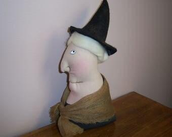 Primitive Folk Art Halloween Witch Side View Doll Ornie Shelf Sitter