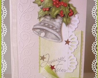 Greeting card: 3D Bell and Holly bouquet, foliage ornare for Christmas