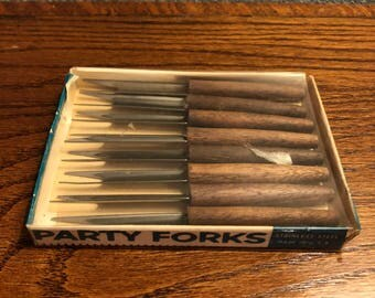 Vintage Party Forks Mid Century Stainless Steel/Wood - Japan