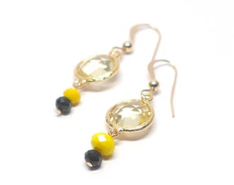 Daffodil yellow crystal earrings and gold Gold Filled