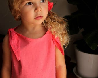 Dress cotton plumetis/embroidery-4/5 years old coral - child - girl - gift idea