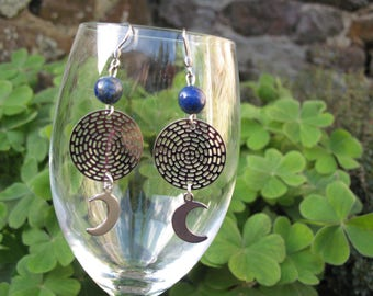 Earrings ' ears and lapis lazuli Moon steel