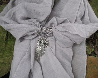 Scarf jewelry grey and OWL pendant