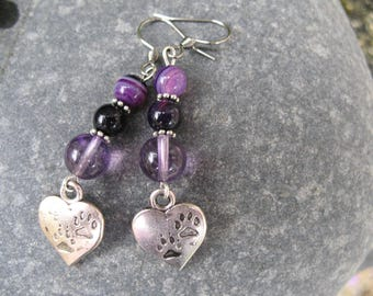 Heart and Paws d animals, amethyst and purple agate earrings