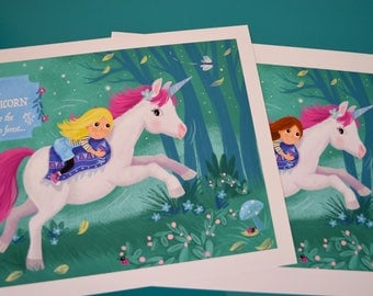 Personalised giclee print, magical unicorn and girl in enchanted forest. custom your print.