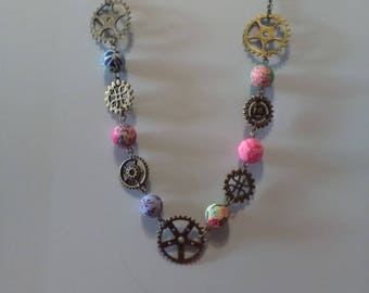 Necklace steampunk gears and Fimo beads