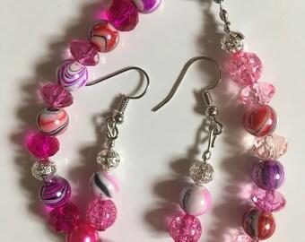 Pink sparkles bracelet and earring set