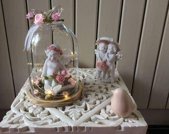 Valentine's day idea in Bell Jar lighted + Angel under umbrella couple