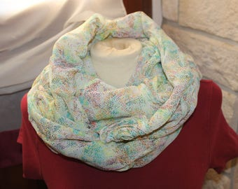 Novelty snood, hooded flowing multicolored large size