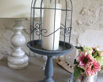 Metal gray, candle holder, boxwood door bell Taupiere