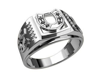 Horseshoe a Symbol of Luck Men Ring Sterling Solid Silver 925 SKU30118