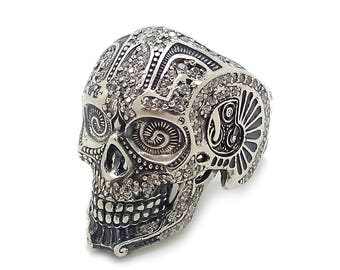Huge Gorgeous Scull with Gemstones Men Ring Sterling Solid Silver 925