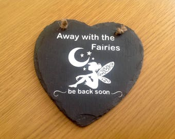 Fairy detail Slate Heart Plaque