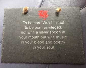 Welsh slate Plaque. Welsh wall decor, Welsh sign, hanging sign