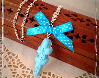 Sweet pastel blue crocodile Necklace: