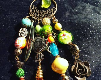 Bohemian necklace with ceramic beads, glass and other