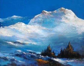 made with a knife on canvas mountain landscape