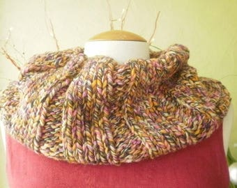Mixed Snood mottled multicoloured hand knitted Choker