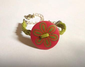 olive suede and button flower girl bracelet