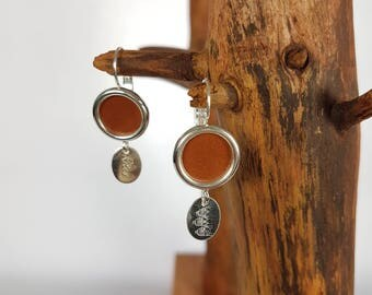 Earrings sleepers Silver 925 and leather rust