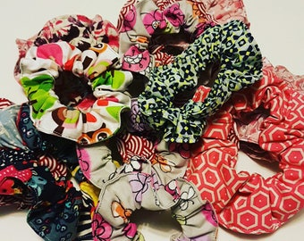 set of 3 scrunchies multi color for every day