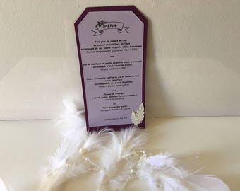 Menu of wedding theme feathers scrapbooking