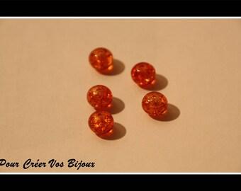 Set of 10 beads cracked glass orange 8 mm