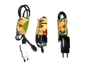 Pack with African fabric cables yellow
