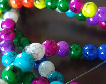 100 x painted bomb - multicolored glass beads