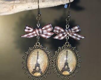 "Bronze colored metal, Steampunk earrings retro vintage ""Eiffel Tower Paris"""