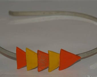 Silver graphic patterned orange and yellow headband