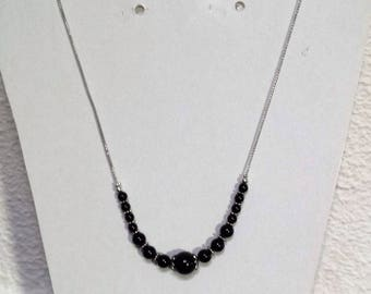 Necklace chain mesh snake and genuine black onyx beads