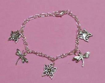 Butterflies and dragonflies charm bracelet