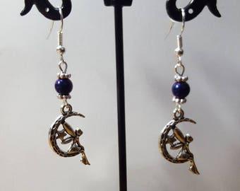 Earrings Purple Fairy on Moon