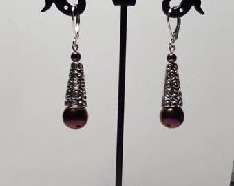 Celtic rose genuine hematite earrings
