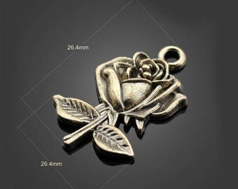 30pcs 26*26mm Bronze Rose Charms Alloy Pendants Setting Jewelry Metal Findings Handmade Supplies Wholesale YZ-12966-a