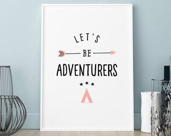 Child poster, Let's be adventures print, Wall art, Art Print, Scandinavian print, Scandinavian poster