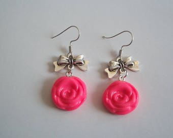 metal and clay earrings polymer clay rose