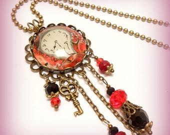 "Necklace Cabochon glass ""funny clock! ...."""