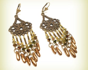 "Earrings Crystal and bronze ""farandoles lime green Crystal!"""