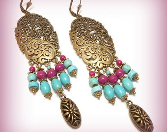 "Earrings ""Eastern purple and turquoise! ..."""