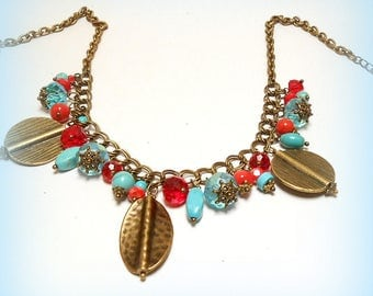 """Necklace charms beads """"Composition ethnic Turquoise"""""""